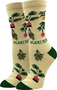 Plant Mom Sock Harbor Women's Crew Socks Yellow  New Novelty Gardening Fashion