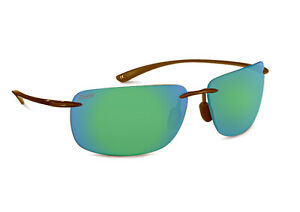 New $90 Hobie Rips Polarized Sport Sunglasses Crystal Brown Copper Green Mirror