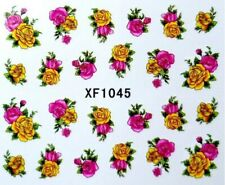 Nail Art Sticker Water Decals Transfer Stickers Yellow Pink Flowers (XF1045)