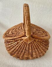 Oval Double Lidded Wicker Basket Picnic Storage Camping Home Décor With Handle