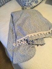 Pair custom pleated drapes, blue floral vine