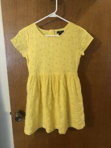 EUC Gap Kids Girls Yellow Eyelet Flowers Dress Size Large (10) Short Sleeves