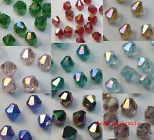 Mixed 4MM 100pcs Loose Glass Crystal Bicone  AB Spacer Beads For Jewelry Making