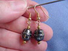 (EE-309) short barrel Black hematite bead gold wire dangle pair of EARRINGS