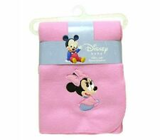 """DISNEY BABY MINNIE MOUSE PINK EMBROIDERED FLEECE THROW BLANKET 30"""" x35"""" NEW"""
