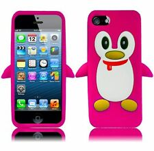 Apple iPhone 5 5S SE Rubber SILICONE Soft Gel Skin Case Cover Penguin Hot Pink