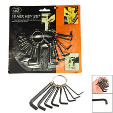 "16 Juego De Llaves Hex Wrench Tool Kit métricas 1/16 "" - 9/64 "" 0,16 - 0,32 mm Imperial Af"