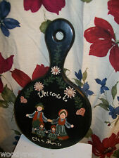 Vintage Wood Wall painting Welcome to our Home Primitive Amish Country Dutch