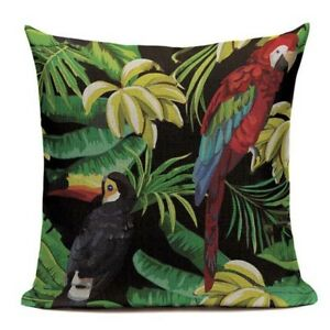 Tropical Floral Parrot Cushion Cover. Toucan, Bird, Black, Dark Interiors