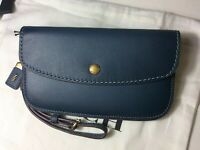 Coach 1941 Glovetanned Leather Phone Wristlet Clutch Dark Denim F58818 MSRP $195