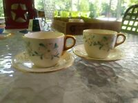 2 DOGWOOD PATTERN DEMITASSE CUP AND SAUCER UNMARKED