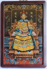 Peinture et cadre chinois anciens Empereur KANGXI en robe jaune TRÈS FINE vitré