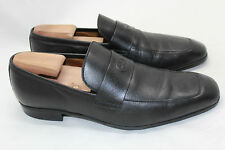 Mens Gucci Embossed Interlocking G Leather Loafer Square Toe Black 8G / 9US (O5)