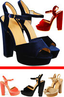 Women's Ladies High Heel Party Block Platform Peep Toe Girls Ankle Strap Sandal