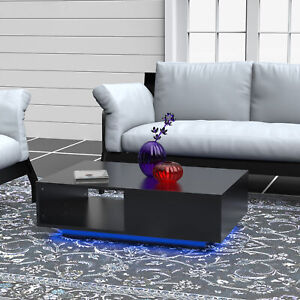 High Gloss Coffee Table Wood Drawer Storage Modern Living Room LED Light Cabinet