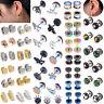 Punk Black Stainless Ear Studs Tragus Helix Men Women Piercing Earrings Cool New
