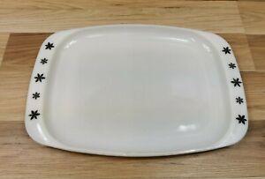 JAJ Pyrex Black & White Gaiety Snowflake Large Rectangular Serving Platter