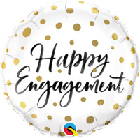 "HAPPY ENGAGEMENT GOLDEN DOTS ROUND FOIL BALLOON 18"" QUALATEX FOIL BALLOON"