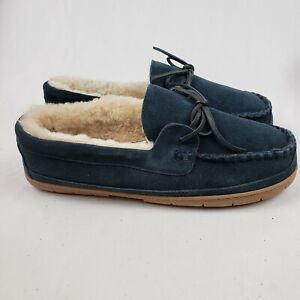 Lands' End Mens Suede Leather Shearling Lined Moccasin Slippers Navy Blue