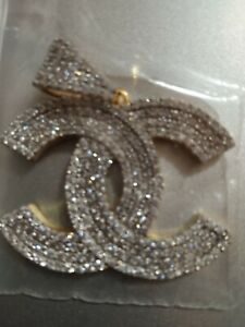 2.25 Ct Round Cut Diamond Chanel Symbol Men's Pendant 14K Yellow Gold Finish
