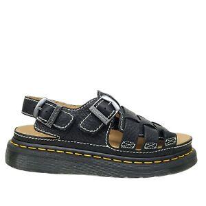 Dr. Doc Martens Leather Fisherman Arc Sandals Black Buckle Cushion Soles Size 10