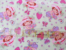 Strawberry Shortcake cotton fabric pastel lime green lightweight BTHY half yard