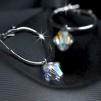 18k white gold gp hoop stud earrings made with SWAROVSKI crystal dangle hoops