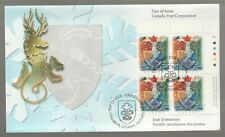 1996 Canada Heraldic Science Plate Block FDC. First day Cover