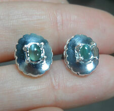 0.65cts Natural Alexandrite cat's eye cabochon earring Sterling 925 Silve 11x9mm