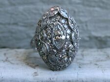 Antique Victorian Engagement Ring 1.8Ct Marquise Cut Diamond 14K White Gold Over
