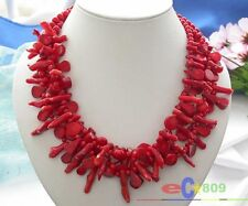 """S618 naturel 4row 18"""" bead taper branch red coral NECKLACE"""