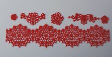 Edible Red SUGAR LACE Set cupcake / cake topper decoration Handmade