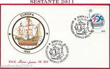 ITALIA FDC ROMA LUXOR 519 MAESTRI DEL LAVORO COLOMBO '92 1992 GENOVA S151