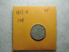 1903 H 10 Cent Coin Canada Edward VII Ten Cents .925 Silver VF Grade