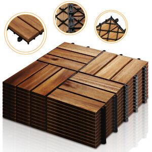 11x Holzfliesen Terrassenfliesen 1qm Akazienholz Balkon Fliesen Platten Garten