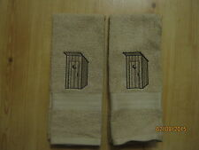New 2 OUTHOUSE Embroidered Hand Towels,Northwoods cabin decor, bathroom, kitchen
