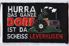"Anti Leverkusen Aufnäher ""..das ganze Dorf"" Kutte Weste Fan Patch Block + neu +"