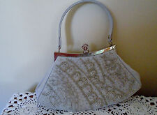 Satin White (Light Grey) Beaded Small Evening Hand Bag Purse