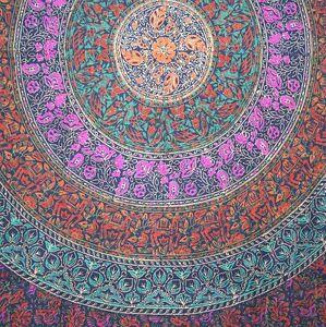 Handmade 100% Cotton Sanganer Mandala Tapestry Spread Queen 108x108 Blue