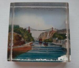 Victorian Glass Souvenir Paperweight Clifton Suspension Bridge - c.1880