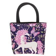 Equilibrio Unicornio & Mariposa Tapiz Bolso de Mano Azul/Rosa Bolsa pequeñas niñas