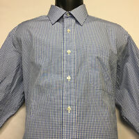 BROOKS BROTHERS Makers French Cuff Shirt in Blue White Mini Check 16.5 32