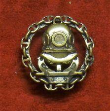 Badge of Russian Soviet military diver - Russian deep sea diving helmet. Brass