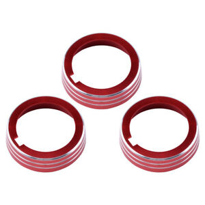 3X, Red Anodized Alu. AC Climate Control Ring Knob Cover Fit For VW Golf GTI MK7