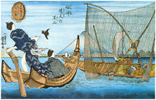 Japanese Reproduction Woodblock Print Fishing Nets, Boats, Art Poster Picture A3