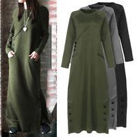 UK Women Muslim Maxi Dress Islam Abaya Sweatshirt Kaftan Long Sleeve Pocket 8-26