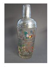 RARE Cocktail Shaker recettes EMAILLE Glass Argent recette ROOSTER enamel