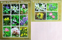 107.BHUTAN 2014 STAMP S/S + M/S WILD FLOWERS . MNH