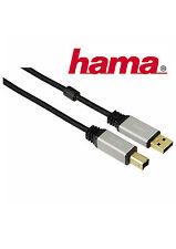 Hama USB Verbindungskabel A-B 1,0 m Kabel 2.0 Vergoldet  Metallstecker 480 Mbits
