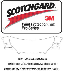 3M Scotchgard Pro Paint Protection 2020 2021 Subaru Outback Hood Fenders Mirrors
